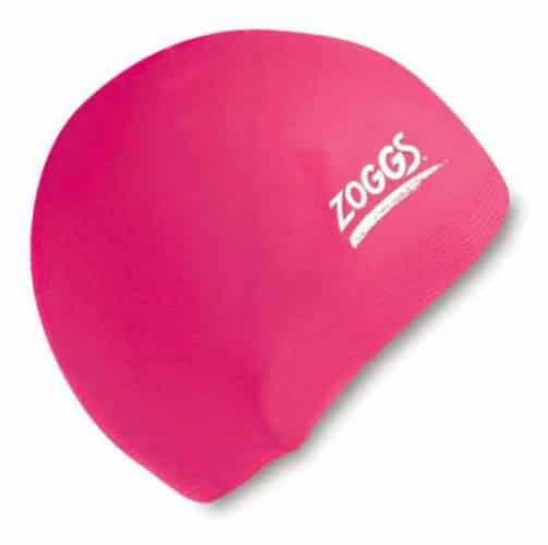 zoggs waterproof silicone swim cap pink