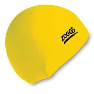zoggs waterproof silicone swim cap yellow